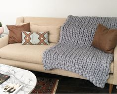 Merino wool throw brings some unique chic to your living room decor.