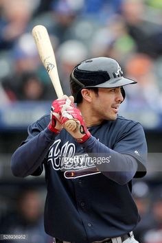 Chase d'Arnaud, #23 of the Atlanta Braves batting during the Atlanta Braves Vs New York Mets MLB regular season game at Citi Field on May 04, 2016 in New York City.