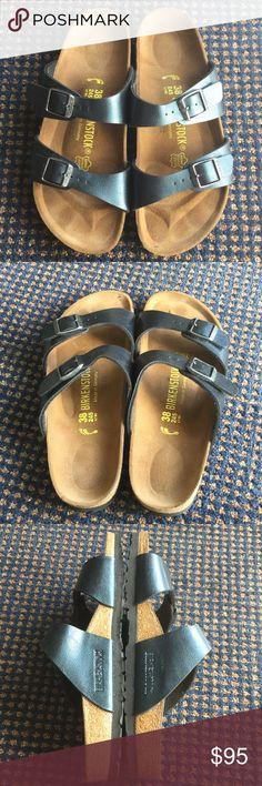 Excellent Birkenstock Blue Metallic 38 Excellent condition, gorgeous blue Metallic, narrow. Comfy  and support your feet. Birkenstock Shoes Sandals