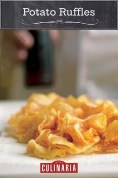 These homemade potato ruffles are the most shatteringly crisp potato chip we've ever made. Homemade Baked Potato Chips, Homemade Chips, Rice Recipes, Potato Recipes, Potato Crisps, Vegetarian Bake, Chips Recipe, Vegan Gluten Free, Ruffles