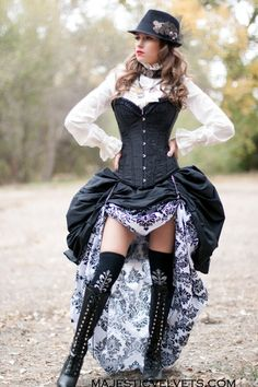 3 Pc. Victorian Steampunk Black Corset with Double White & Black Damask Bustle Skirt