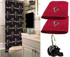 Atlanta Falcons Deluxe Bath Set at www.SportsFansPlus.com ✖️More Pins Like This One At FOSTERGINGER @ Pinterest✖️