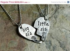 Big Sis and Lil Sis Broken Heart Pendant by JoyBelleJewelry