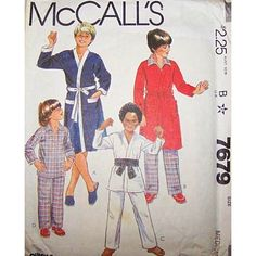 Amazon.com: McCall's 7679 Vintage 1981 Boy's Karate Costume, Robe, Pajama Pattern, Size Med 6 to 10: Arts, Crafts & Sewing