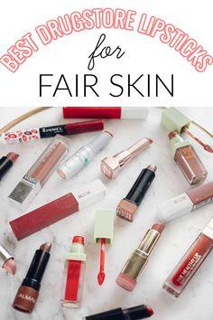 The Best Drugstore Lipsticks for Fair Skin + 16 Lip Swatches Bronzer For Fair Skin, Lipstick For Pale Skin, Fair Skin Makeup, Best Bronzer, Natural Lipstick, How To Apply Lipstick, Natural Makeup, Natural Beauty, Best Drugstore Lipstick