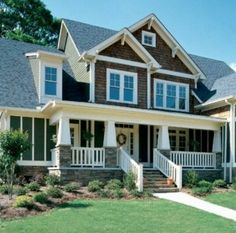 Eplans House Plan: Craftsman-style pillars lend a country look to this graceful home. An elegant entry opens to the vaulted family room, where a fireplace warms and bright windows illuminate. The kitchen is designed for the t Br House, Story House, House Floor, Open House, Looks Country, Craftsman Style House Plans, Craftsman Exterior, Craftsman Homes, Craftsman Porch