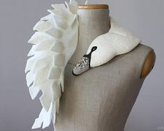 White Swan felted wool animal scarf bridal stole / by celapiu
