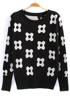 ++ Black Flowers Embroidery Cotton Sweater