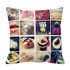 Create Your Own Instagram Photo Pillow @ zazzle.com - upload 32 photos for standard pillow $30