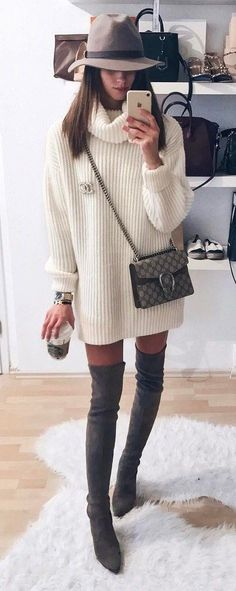 trendy+fall+outfit+:+hat+++bag+++over+the+knee+boots+++white+sweater+dress+weather