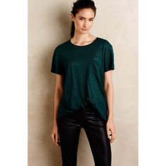 Gat Rimon Whispered Stripe Tee ($98) ❤ liked on Polyvore featuring tops, t-shirts, green motif and gat rimon