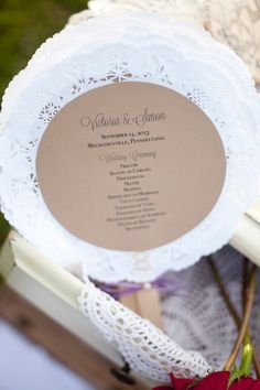 Doily Wedding Program Fans by BelleAmourDesigns  Photo by i {heart} photos