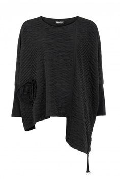 Shop AKH Black Waffle Stepped Hem Top from idaretobe UK online stockist. Cut And Style, Hemline, Plus Size, Autumn, Pullover, Winter, Unique, Fabric, Sleeves