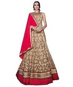 44037cc2a Latest 2016 Diwali Collection Indian Ethnic Style Gown / Festive Wear Gown  For Indian Women / Beige Colour Net With Zari Work