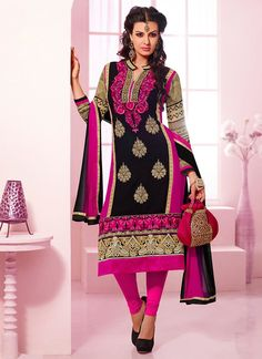 Majestic Black Georgette Churidar Suit