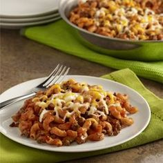 Sloppy Joe Macaroni Skillet•1 pound ground round beef (85% lean) •1 can (15 oz each) Manwich® Original Sloppy Joe Sauce •1-1/2cups water •1-1/2 cups dry elbow macaroni, uncooked •3/4 cup shredded Colby & Monterey Jack cheesel brn ground beef. add sauce/water/elbow to boil, reduce heat/cover till tender. top with cheese,  let stand 3 min for melty cheese.