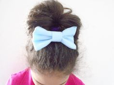 Blue bow barrette Hair bow french barrerte by OneOfferJewelry