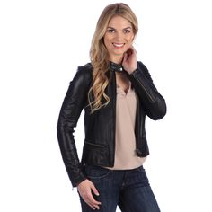 A new feminine twist on the sleek lines of a moto jacket. Seaming below the waist in back features peplum-like flaring, to bring extra curve enhancement to a classically cool look.