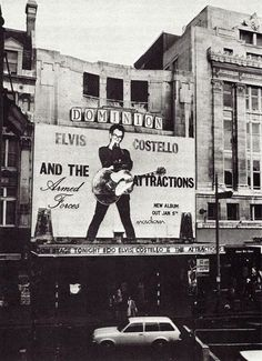 70 foot high Elvis on the front of the Dominion to promote Armed Forces.Dec 1978 By Chalkie Davies Power Pop, Music Pics, Pop Music, Band Rooms, Elvis Costello, The New Wave, Cultural, Post Punk, Classic Rock