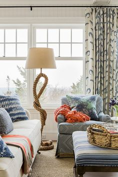 Living Room Drapes in John Robshaw Prasana in Bluebell (Katie Rosenfeld Design) Chic Beach House, Beach Cottage Style, Beach House Decor, Beach Houses, Seaside Style, Coastal Style, Living Room Drapes, Coastal Living Rooms, Style At Home