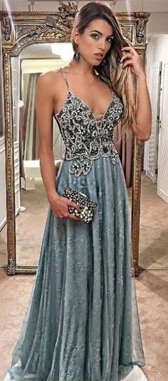 A-Line Spaghetti Straps Floor-Length Lace Formal Prom