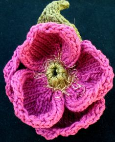 Image detail for -PDF Knitting Pattern Peony Knitted Flower by ohmay on Etsy Knitted Flower Pattern, Knitted Flowers, Flower Patterns, Knitting Patterns, Fiber Art Jewelry, Flower Tutorial, Yarn Crafts, Knitting Projects, Tangled