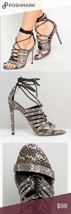 "Asos Hurricane Lace Up Heeled Sandal Size 9 Faux-leather upper Snake-effect finish Lace-up style Open-toe design High stiletto heel Wipe clean 100% Other Materials Upper Heel height: 11.5cm/4"" Asos Shoes"