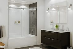 Halo Sliding TUB Door logo Maax Key Benefits Massive 15 ½ in. handle is comfortable to use Modern smooth and silent roller systems Reversible for left or right door opening installation Tall frameless clear tempered glass Waterproof magnetic closer Bathroom Shower Doors, Bathtub Doors, White Bathroom Tiles, Glass Shower Doors, Master Bathroom, Bath Shower, Glass Doors, Frameless Shower, Large Shower