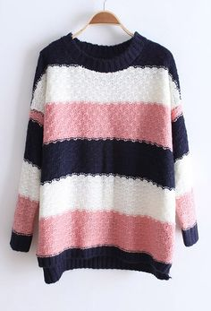 Navy White Pink Striped Long Sleeve Pullovers Sweater