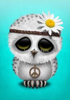 Cute Baby Snowy Owl Hippie on Blue
