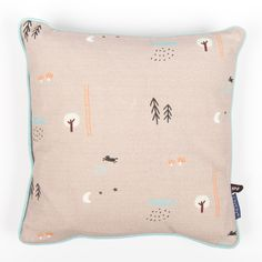 "OYOY ""Happy Forest"" Brown-Gray Cushion with Forest Print"