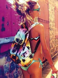 Color Beach Palm Back Pack. Swim Suit. Teen Fashion. By-Lily Renee♥ follow (Iheartfashion14).