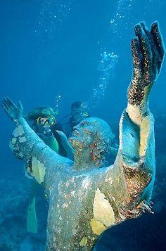 Christ statute underwater at John Pennekamp Coral Reef State Park in Florida.
