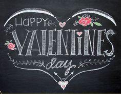 Hand drawn Happy Valentine's Day by TheBlackandWhiteShop on Etsy