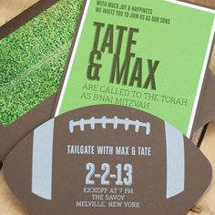 Football Bar Mitzvah invitation with grass pattered envelope liner by Luscious Verde Cards