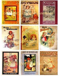 Vintage Alice In Wonderland Book Covers Digital Collage Sheet-alice, alice in wonderland, book, collage sheet, printable, craft