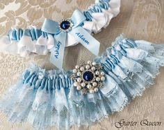 Blue Lace Wedding Garter Set / http://www.deerpearlflowers.com/wedding-garters-sets-from-etsy/3/