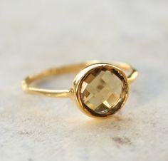 Citrine Ring - Vermeil Gold - Round Shape