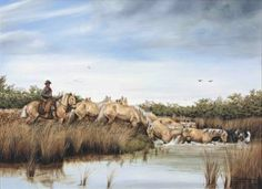 Francisco Madero Marenco - Elgaucho cruza una cañada con su tropilla de bayos.