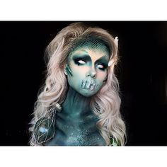 Galaxy Skull 🌌💀Halloween Makeup, Body Painting Art Idea From 👉 💘👻 ⠀ Will you try it? 📌 Tag your friend who'll love… Medusa Makeup, Sfx Makeup, Costume Makeup, Makeup Art, Siren Costume, Contouring Makeup, Makeup Brush, Halloween Inspo, Halloween Horror