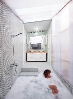 Banheira piscina no fundo do banheiro. Criar desnível com degraus e rampa para o chuveiro e criar uma piscina. Miguel de Guzman www.imagensubliminal.com