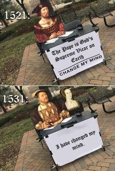 """An Eon's Worth Of History Memes - Funny memes that """"GET IT"""" and want you to too. Get the latest funniest memes and keep up what is going on in the meme-o-sphere. Old Memes, Dankest Memes, English Reformation, Defender Of The Faith, Funny Jokes, Hilarious, Funny Texts, Funny Text Posts, Christian Memes"""