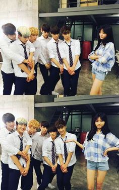 Astro with SaeRon on the set of their web drama 'To be continued...'