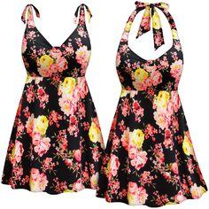 c302d0d36ed92 Customizable Neon Pink & Yellow Roses Halter or Shoulder Strap 2pc Plus  Size Swimsuit/SwimDress 0x 1x 2x 3x 4x 5x 6x 7x 8x 9x