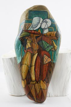 Hand-painted stones with figures from De Chirico by Bidigo on Etsy