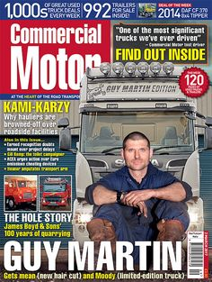 2nd March 2017►Guy Martin launches his own limited edition Scania, and gets a mean new hair cut ►We get bogged down in drivers' roadside facilities, and talk to Truckers' Toilets UK founder Gill Kemp ►Can the UK cope with 25m long vehicles? Transport minister John Hayes goes for a ride in an Eco-Link B-double LHV ►We visit James Boyd and Sons on the same quarry it's been operating on for more than a century