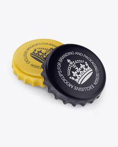 Two Matte Bottle Caps Mockup - Half Side View (High-Angle Shot)