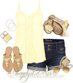 Pale yellow and gold summer outfit Cute Summer Outfits, Summer Wear, Spring Summer Fashion, Spring Outfits, Summer Time, Casual Summer, Summer Clothes, Summer Fresh, Casual Weekend