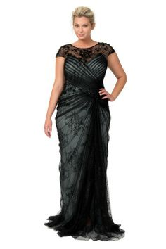 142077fcf8 Lace and Draped Tulle Gown in Black   Marble Moda Feminina Plus Size