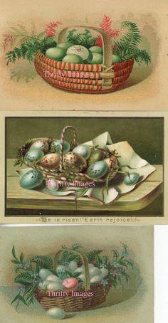 Antique Vintage Digital Images Three Trade Card images of Eggs In Basket Easter on Etsy, $1.00